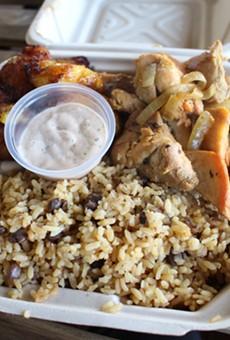 Garlic chicken, sweet plantains, and rice at La Perla.