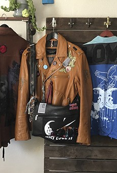 Leader of Cool Moons' reconstructed jackets include custom patchwork, buttons, and embroidery.