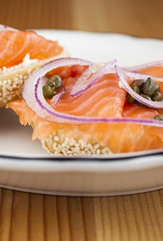 Beauty's Bagel Shop's open classic features plain cream cheese, smoked salmon, capers, and onions.