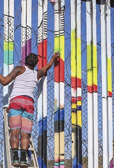 The muralists secured permission to paint on the Mexican side of the wall.