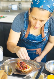 WELL PLACED: Theully Calderwood works on a savory creation.