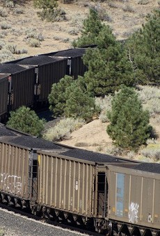 A Union Pacific train laden with coal passing through the Sierra Nevada foothills toward the Bay Area in August 2015.