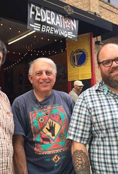 Federation Brewing Co. owners Aram Cretan, Larry Cretan, and Matt Hunter, outside their new Jack London Square brewhouse and taproom.
