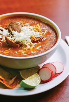 The pozole is rich and meaty — no extras required.