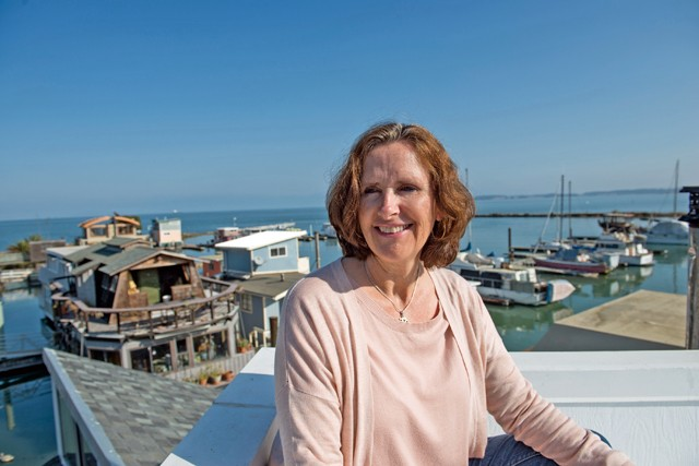 Cindy Laberge is among harbor residents who are negotiating with the new owners for a mutually beneficial outcome. - PHOTO BY PAT MAZZERA