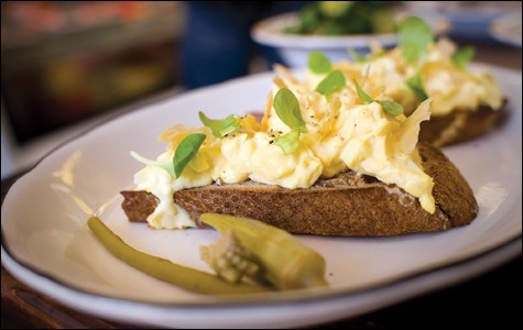 The open-faced Okayo sandwich, topped with egg salad and crispy chicken skin. - CHRIS DUFFEY
