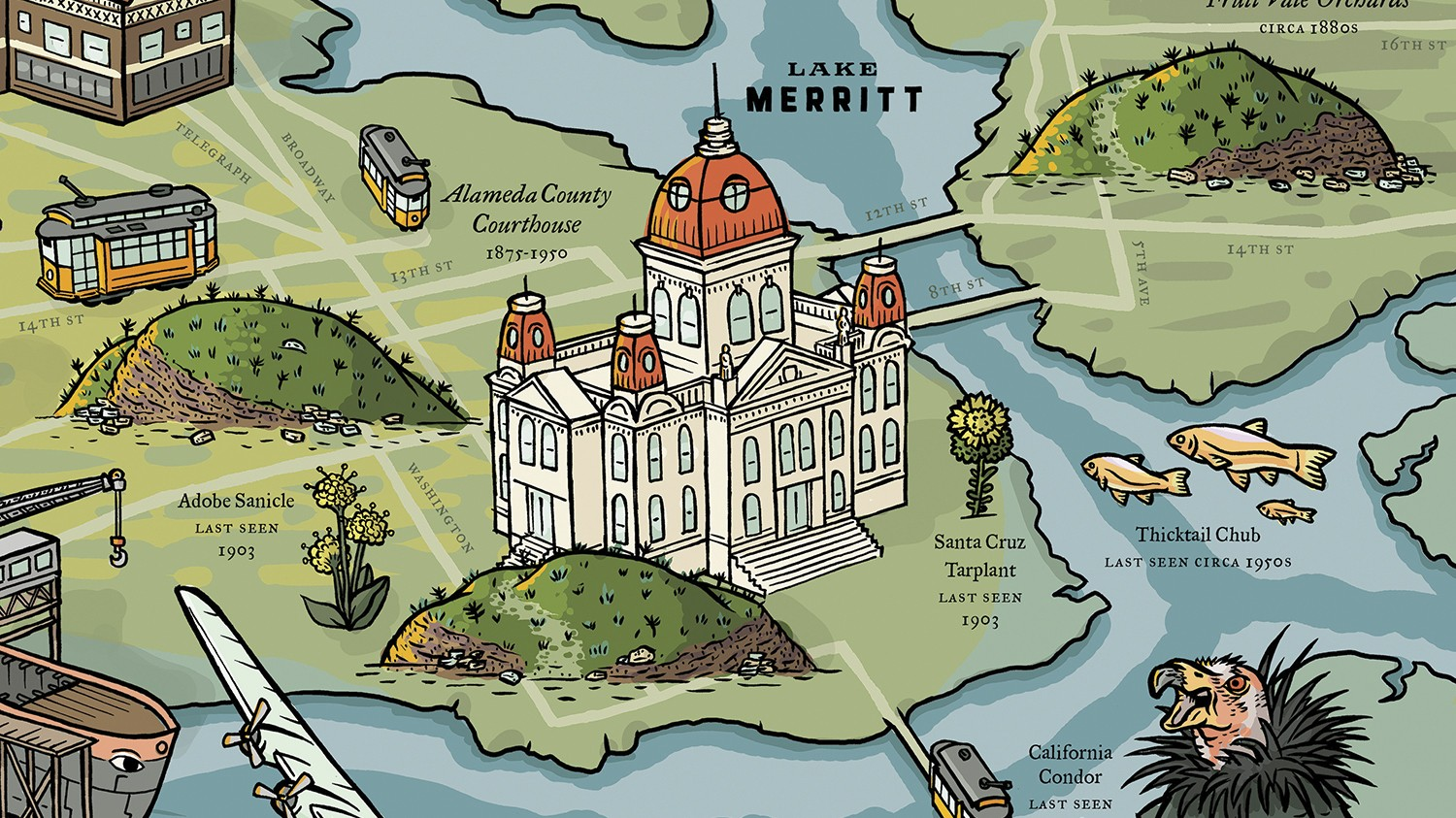 Mapping history with long lost oakland arts feature east bay express click to enlarge the map highlights extinct flora fauna and landmarks illustration courtesy of long gumiabroncs Image collections
