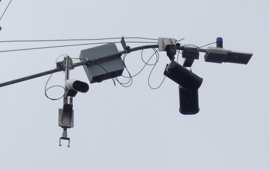 A license plate reader camera array in the city of Piedmont in 2014. - PHOTO BY DARWIN BONDGRAHAM