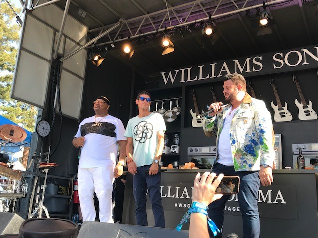 E-40, Mike D, and Adam Richman at the culinary stage. - PHOTO BY AZUCENA RASILLA