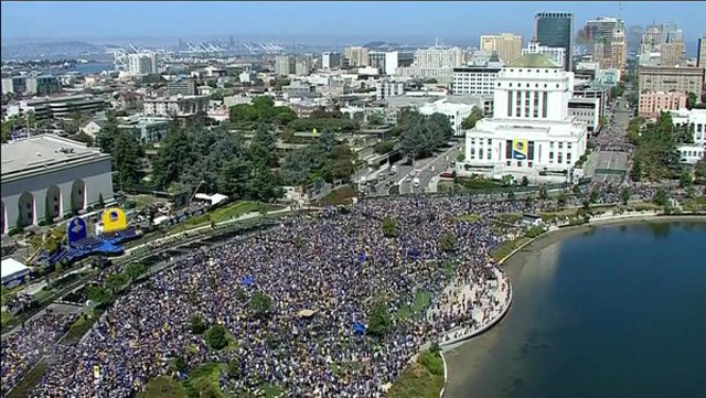 What the Warriors' parade looked like in 2015.