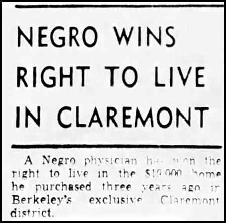 "Tribune headline ""Negro Wins Right to Live in Claremont"" Dec. 7, 1948"