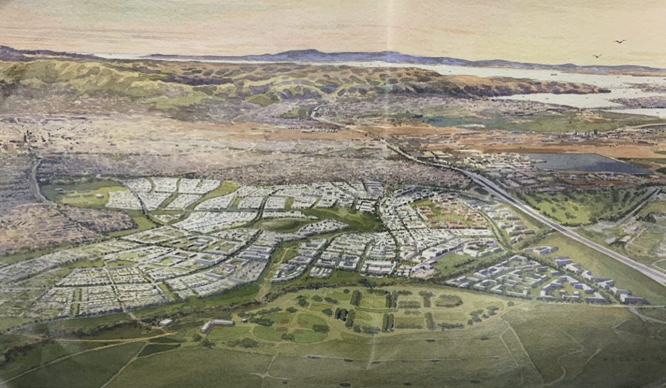 A rendering of the sprawling, 13,000-unit housing development proposed for the Concord Naval Weapons Station in Contra Costa County.