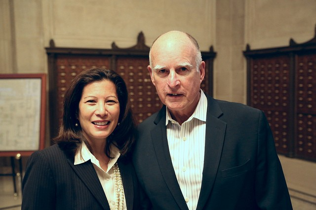 CALIFORNIA CHIEF JUSTICE TANI CANTIL-SAKAUYE AND GOVERNOR JERRY BROWN.