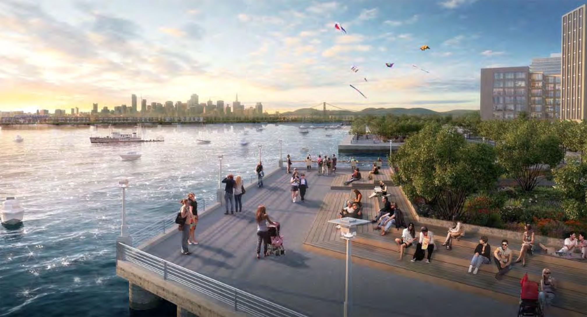 New oakland park to be a giant wooden deck east bay express for Waterfront deck designs