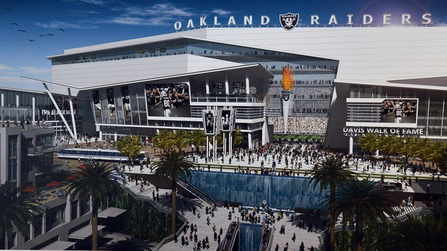 A rendering of a proposed new Raiders stadium in Oakland.