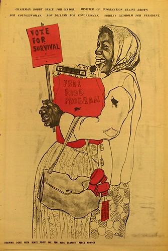 A poster by Emory Douglas endorsing Bobby Seale for Oakland mayor and Elaine Brown for city council. - HTTP://BAD.ESERVER.ORG/ISSUES/2004/65/GAITER.HTML