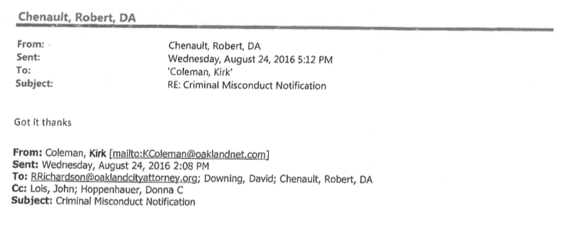 The single email fulfilling OPD's requirement to notify the District Attorney of suspected crimes by officers.