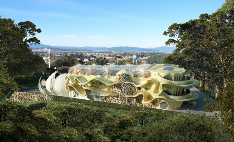 Rendering of Tssui's proposed live-work space and educational center in San Pablo, CA. - EUGENE TSSUI