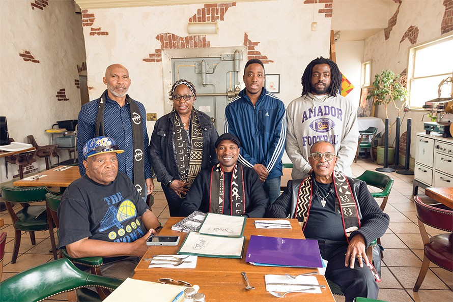 Clockwise from top left: Berkeley Juneteenth organizers Lucky R. Thomas, Delores Cooper, Orlando Williams, William Varner, David Varner, Ken Tramiel Sr., Larence Brook. - PHOTO BY LANCE YAMAMOTO