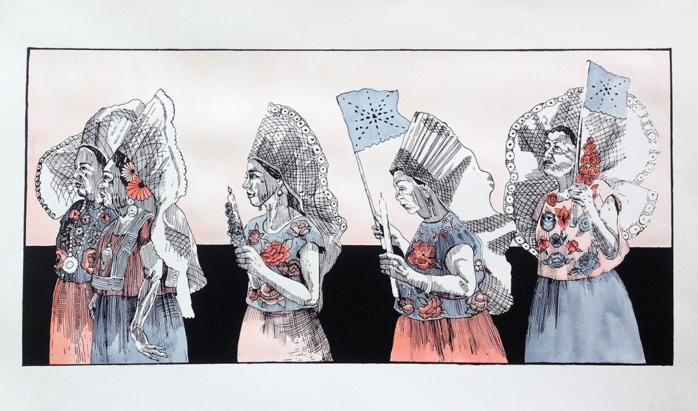 The March of Women (hand-colored silkscreen print) by Carmen McNall - COURTESY OF OAKLAND PRINT FAIR