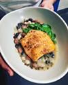 Salmon with legume ragout.