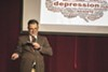 Scott Vermeire gives a PowerPoint presentation.