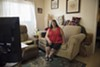 Julia Bathasar in her apartment at 470 Central Avenue in Alameda.