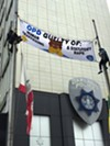 Protesters at the Oakland Police Department's headquarters on Friday, June 17.