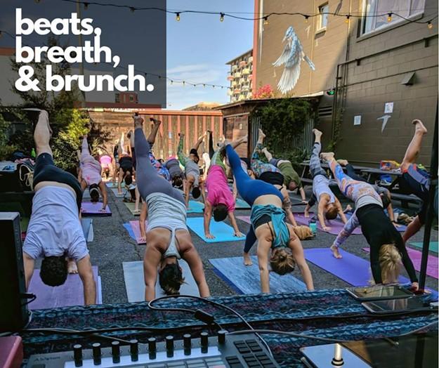 Beats Breath Brunch With Live Dj Left Coast Power Yoga At Lost Found Beergarden Lost Found Beergarden Health Wellness Dj Dance East Bay Express
