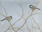 "Chickadees, oil on canvas, 14"" x 18"" - Uploaded by Bella Bigsby"