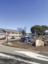 PHOTO BY JADE YAMAZAKI STEWART - An encampment near the Caltrans overpass.