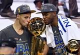 COURTESY OF THE GOLDEN STATE WARRIORS - NBA regular season MVP Stephen Curry (left) and Finals MVP Andre Iguodala.