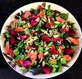 OAKLAND HOT PLATE VIA FACEBOOK - A gluten-free beet and king salmon salad.