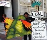 JEAN TEPPERMAN - Anti-coal protesters gather in front of Oakland City Hall.