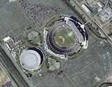 An arial view of the Oakland Coliseum.