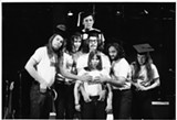Garry Goodrow, Peter Elbling, Chevy Chase, Christopher Guest, John Belushi, Mary-Jennifer Mitchell and Alice Peyton in Drunk Stoned Brilliant Dead: The Story of the National Lampoon.