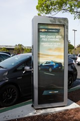 BERT JOHNSON - An electrical vehicle charging station in Alameda.