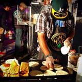 COURTESY TAQUERIA LA VENGANZA - Raul Medina grills tacos at Taqueria La Venganza, his Oakland-based vegan taco pop-up.