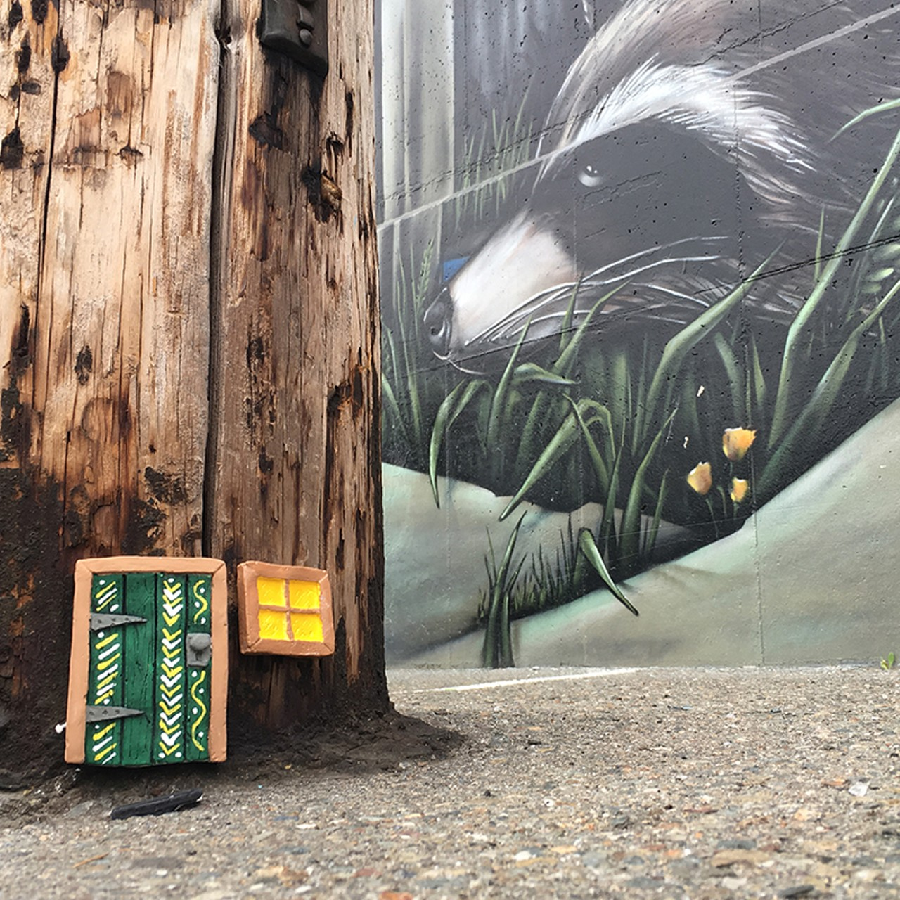 click to enlarge COURTESY OF @MOWS510 - A tiny door with a chevron pattern by Mows. & Mouse Doors to Your Imagination | Visual Art u2013 Web Only | East Bay ...
