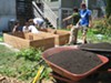 Volunteers from City Slicker Farms helped install raised beds in Laura Blakeney's yard to avoid containminated soil.