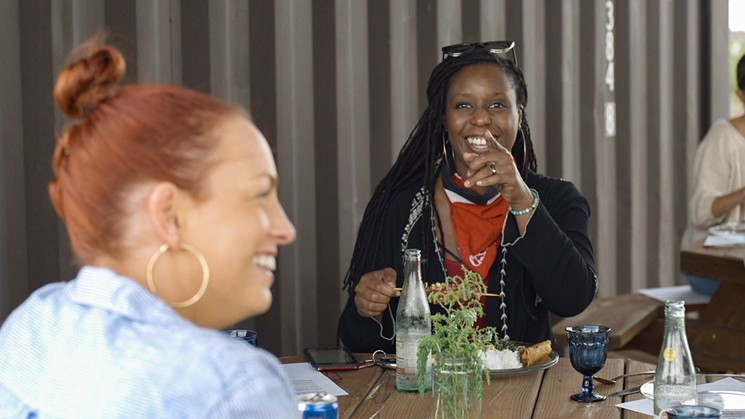 Chefs Sasha Grumman and Keisha Griggs share a table and laughs at Chef Fest. - PHOTO BY CHEF FEST
