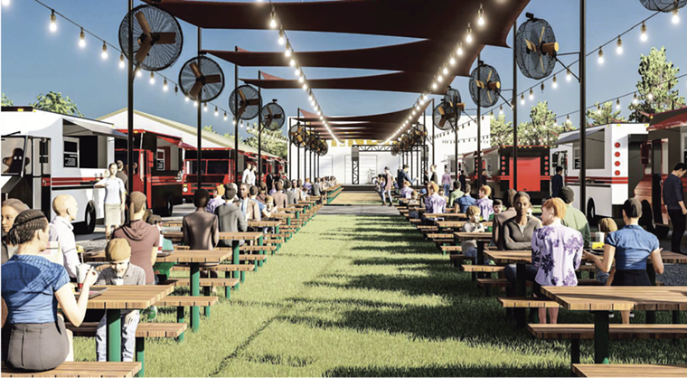 Comida Park will have seating for diners. - RENDERING BY NADEEM BATTLA
