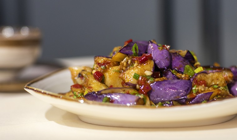 Beautiful eggplant gets a lift from spice and garlic. - PHOTO BY JESSIE JIA