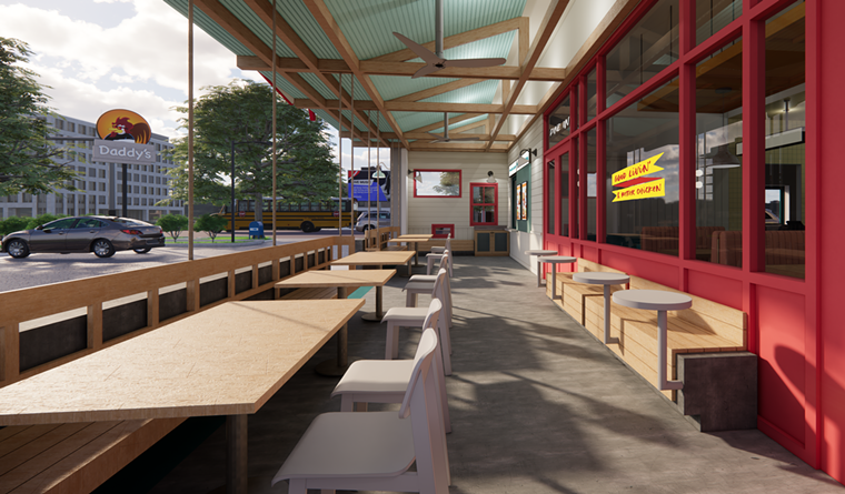 Daddy's Chicken Shack will have outdoor seating. - RENDERING BY HARRISON