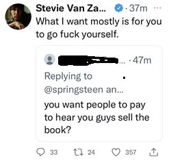 @STEVIEVANZANDT TWITTER