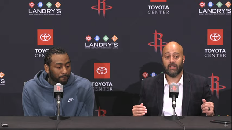 John Wall (left) and GM Rafael Stone discuss his role with the team this season. - SCREENSHOT