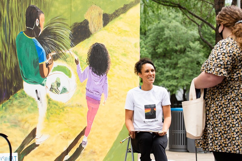 Meet the muralists at Discovery Green!
