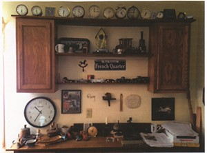Some of Roy's clocks, collected over a lifetime.