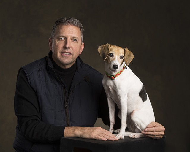 """Chris Butler, Butler Funeral Homes """"My wife, Val, and I found Millie through APL. We were looking for dogs to consider for our grief therapy dog at our funeral homes. She is a Jack-a-Bee (Jack Russell/Beagle mix). She was listed as being blind."""