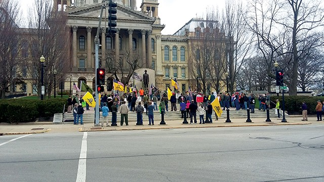 Gun nuts, er, fans, gathered last Saturday at the Capitol. - PHOTO BY BRUCE RUSHTON